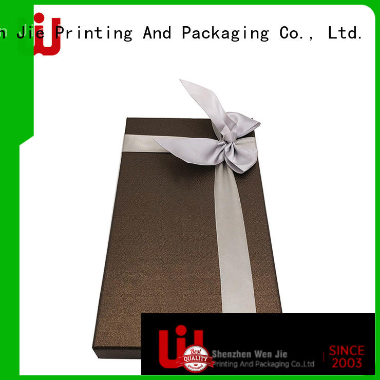 WenJie design gift box with ribbon from China for shop
