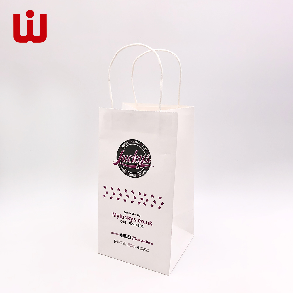 WenJie-Custom Paper Bag, 15 Years Factory White Kraft Paper Bag With String-1