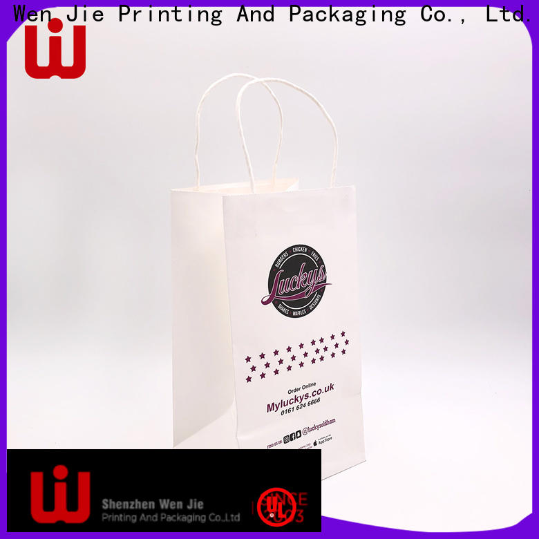 WenJie white cheap white paper bags with handles wholesale for market