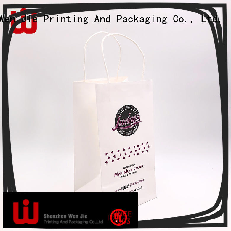 WenJie white custom paper bag wholesale for store